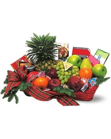 Fruit and Gourmet Basket Flower Arrangement