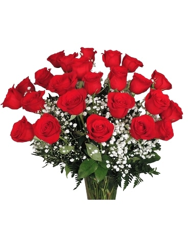 Two Dozen Red Roses Wrapped Flower Arrangement