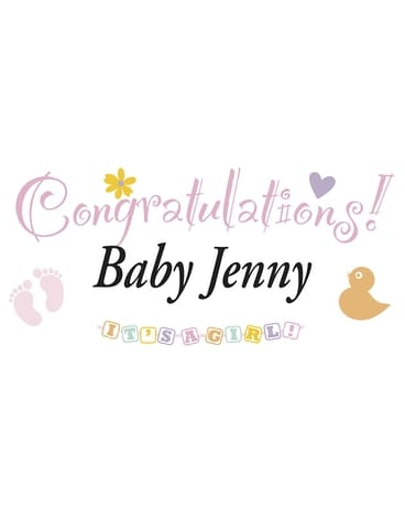 Colorful Personalized Banner-Baby Girl Flower Arrangement