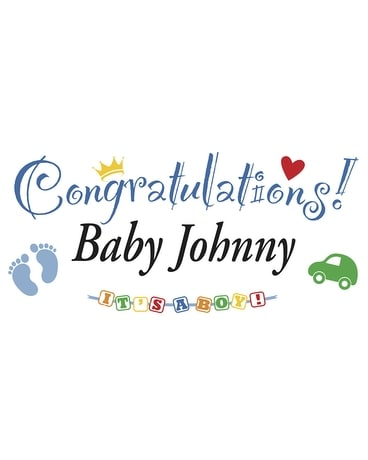 Colorful Personalized Banner-Baby Boy Flower Arrangement