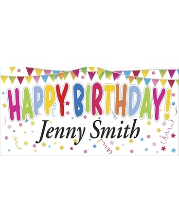 Colorful Personalized Banner-Birthday Flower Arrangement