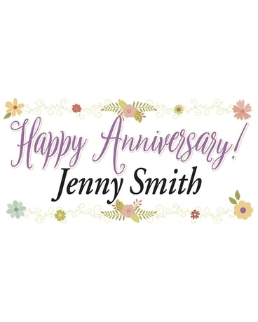 Colorful Personalized Banner-Anniversary Flower Arrangement