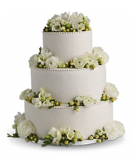 Freesia and Ranunculus Cake Decoration Flower Arrangement