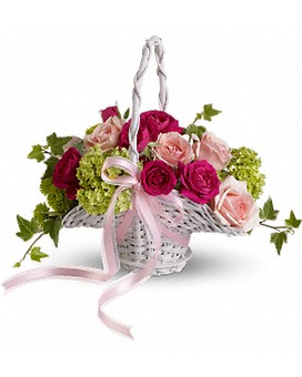 Flower Girl's Dream Basket Flower Arrangement