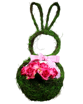 Bunny Door Hanger - Pink Wreath