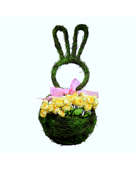 Bunny Door Hanger - Yellow Wreath