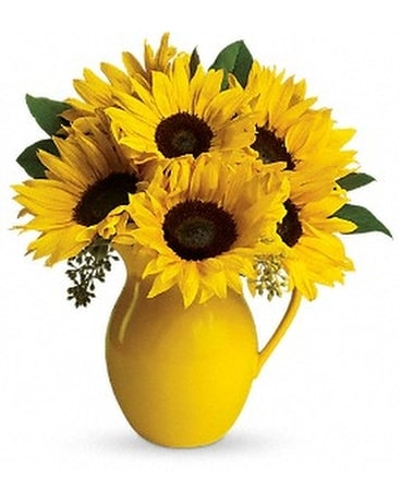 Teleflora's Sunny Day Pitcher of Sunflowers Flower Arrangement