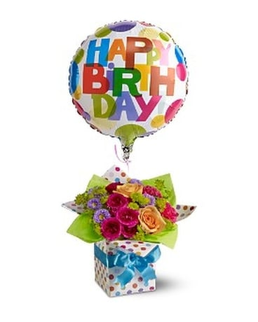 Teleflora's Happy Birthday Present Flower Arrangement