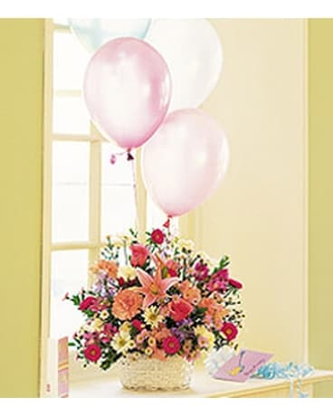 Birthday Balloon Basket Flower Arrangement