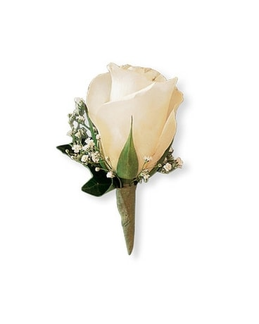 White Ice Rose Boutonniere Boutonniere