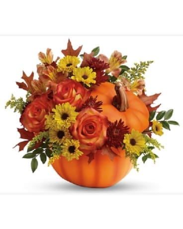 Festive Fall Pumpkin Flower Arrangement