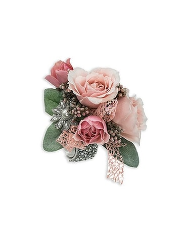 Victorian Blush Wrist Corsage Flower Arrangement