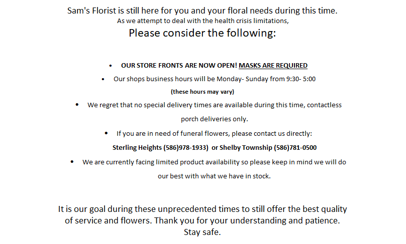 Flower Delivery to Sterling Heights by Sam's Florist