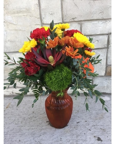 Autumn Swirl Orange Flower Arrangement