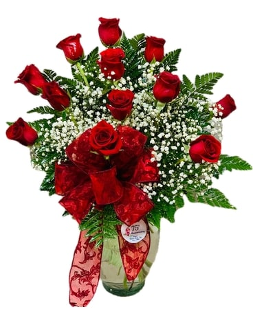 Romantic Elegance - Pugh's Classic Red Roses Flower Arrangement