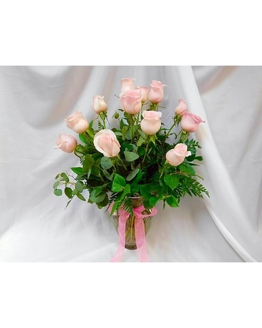 One Dozen Pink Roses Flower Arrangement