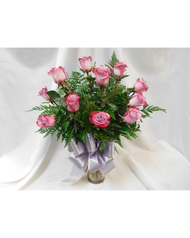 One Dozen Lavender Roses Flower Arrangement