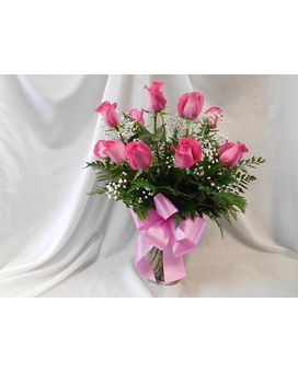 One Dozen Hot Pink Roses Flower Arrangement