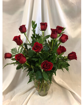 One Dozen Red Roses Flower Arrangement