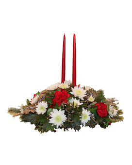 Christmas Traditions Double Candle Centerpiece