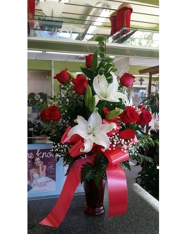 One Dozen Red Roses PLUS Flower Arrangement