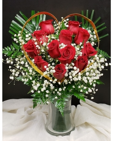 Golden Heart  with Red Roses Flower Arrangement