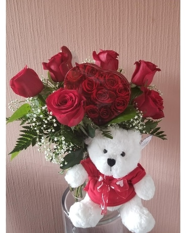 6 Red Roses with Teddy Bear