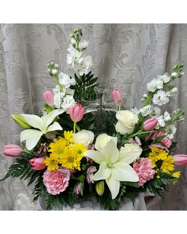 Spring Time Cross Flower Arrangement