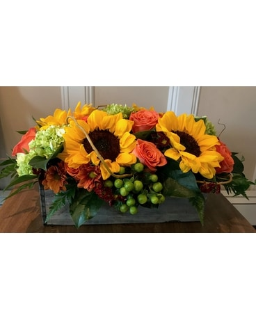 Happy Days Fall Wooden Box Flower Arrangement