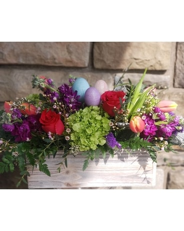Country Flower Box Flower Arrangement