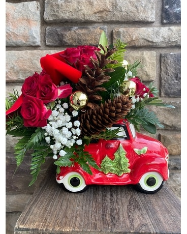 Christmas Truck Flower Arrangement