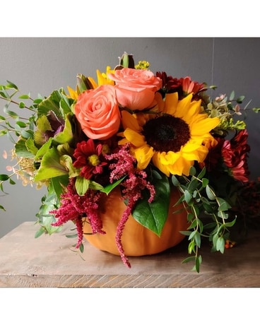 Bright Pumpkin Flower Arrangement
