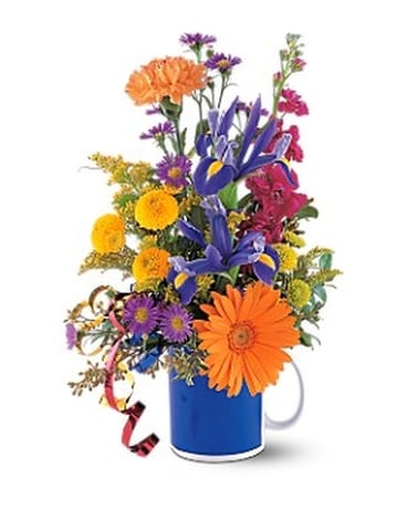 Cheerful Flowers in a Mug Flower Arrangement