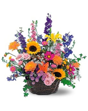 Summertime Sensation Basket Flower Arrangement