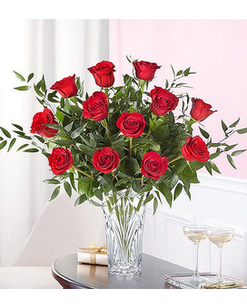 Marquis by Waterford® Premium Long Stem Red Roses Flower Arrangement