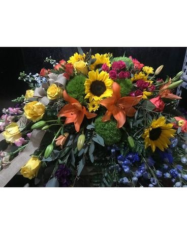 Hues of Hope Casket Flower Arrangement