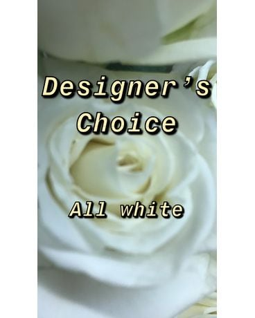 All White Designer's Choice Flower Arrangement