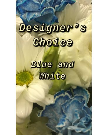 Blue and White Designer's Choice Flower Arrangement