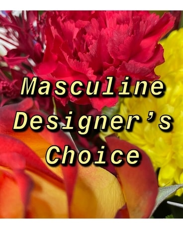 Masculine Colors Designer's Choice Flower Arrangement