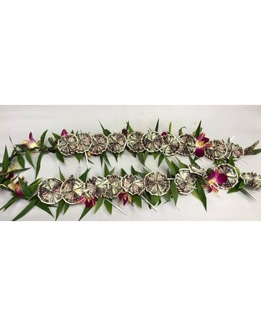 Ti Leaf & orchids lei with Money Custom product