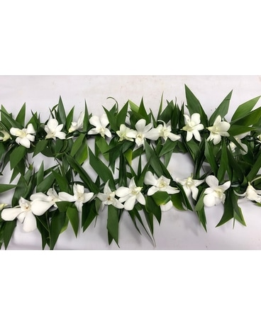 Maile style Ti leaves with white Dendro Custom product