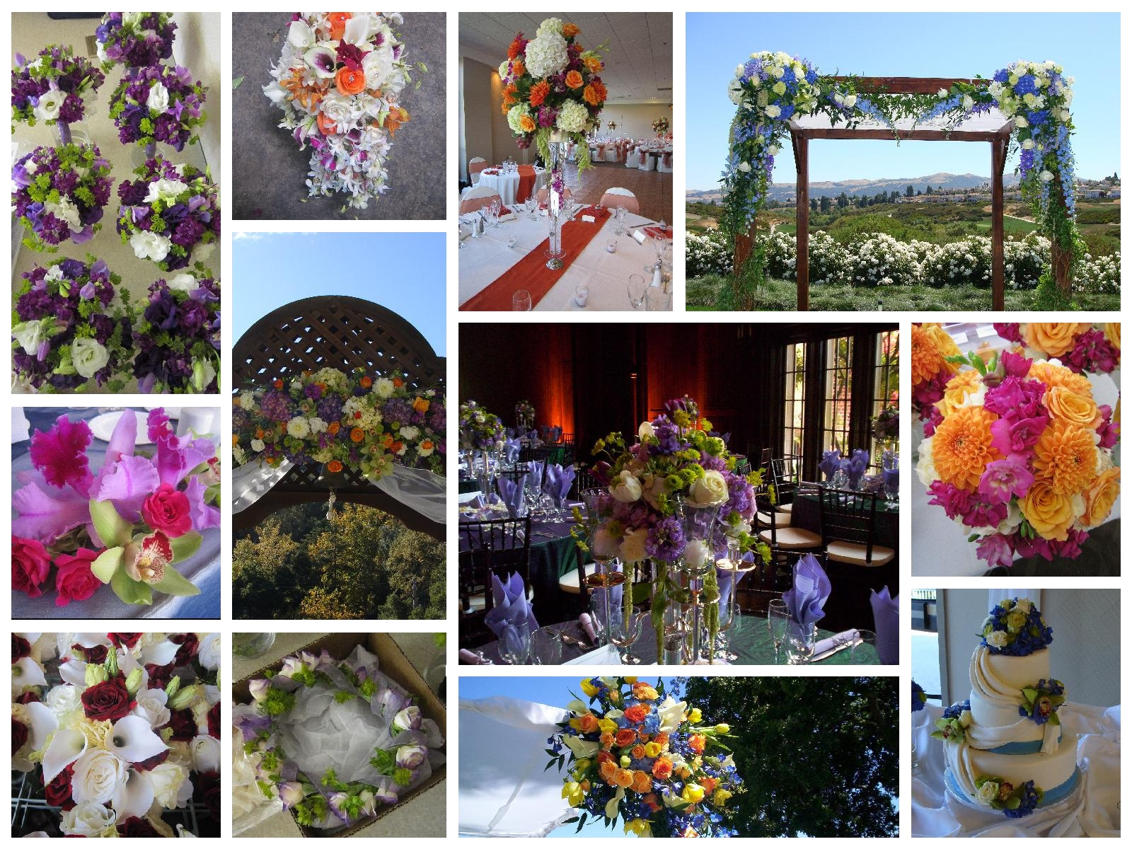 collage example of bright and bold wedding arrangements