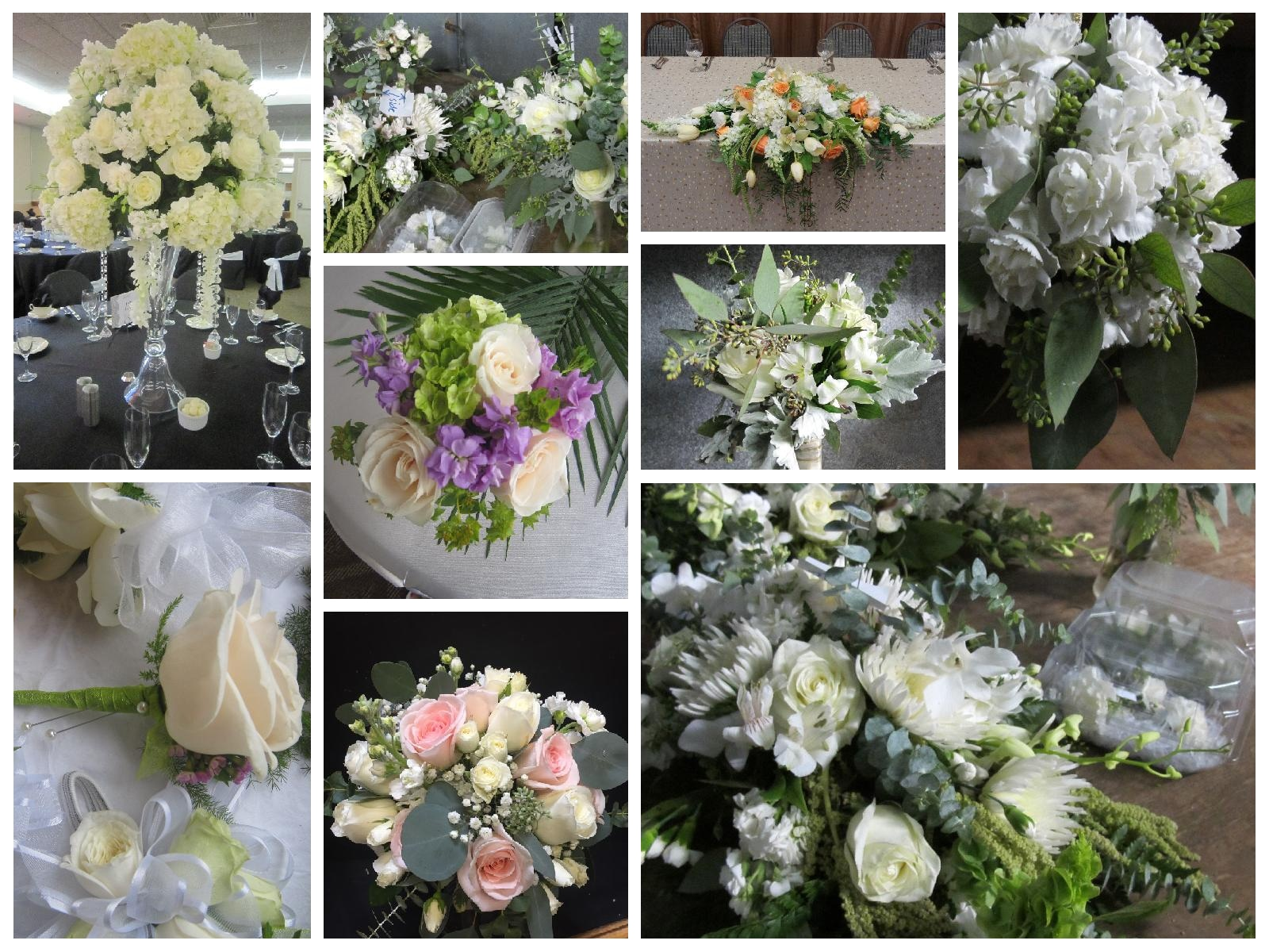 collage example of green and white wedding arrangements