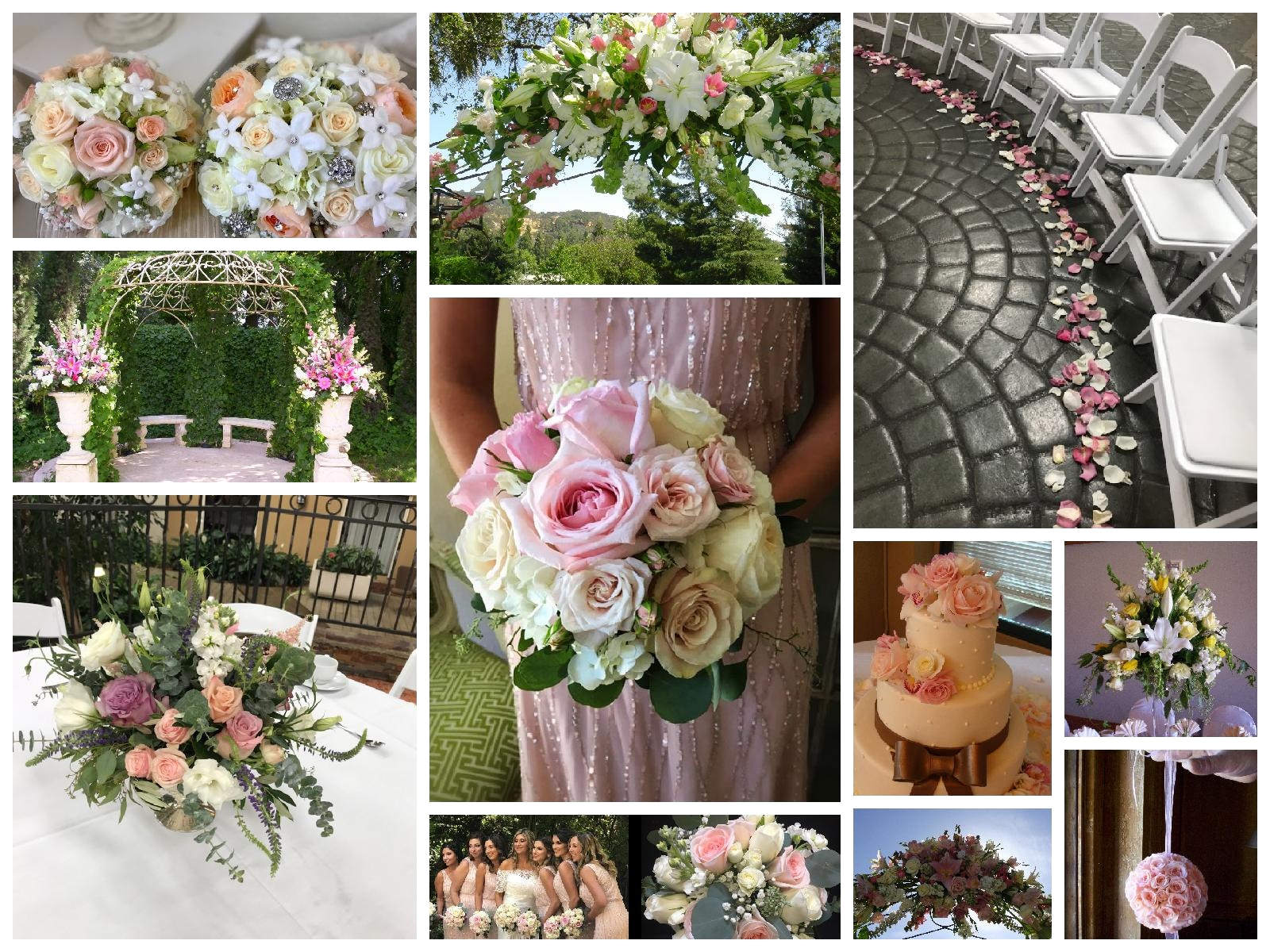 collage example of pink and pastel wedding arrangements
