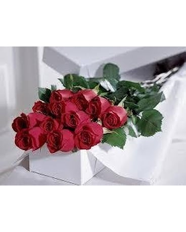 Boxed red roses Flowers