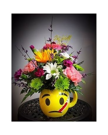 Feel Better Emoji Mug Flower Arrangement