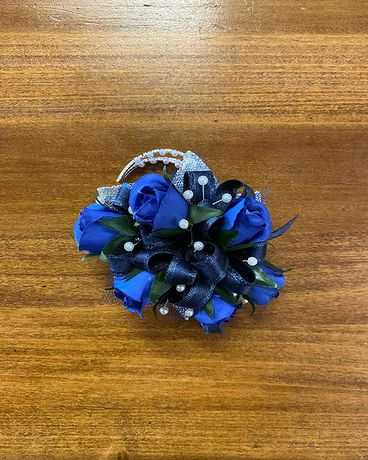 Navy Blue & Silver Wrist Corsage Corsage