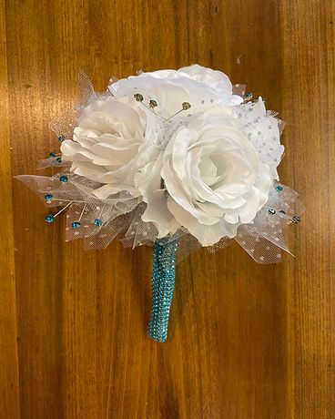 White & Aqua Blue Prom Bouquet Bouquet