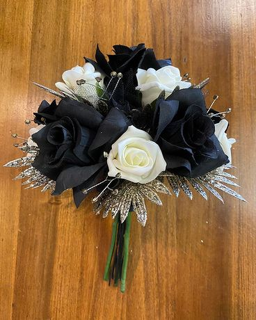 Black, Ivory & Gold Prom Bouquet Bouquet