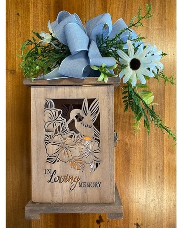 Wooden Lantern with Light Blue Swag Gifts